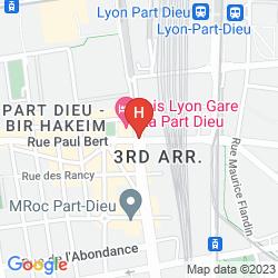 Karte PREMIERE CLASSE LYON CENTRE GARE PART DIEU