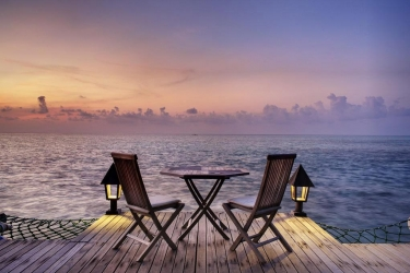 Hotel Gangehi Island Resort: Blick vom Hotel MALDIVEN