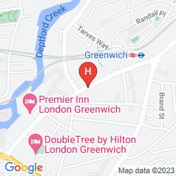 Mapa PREMIER INN LONDON GREENWICH