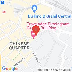Mapa TRAVELODGE BIRMINGHAM CENTRAL BULL RING HOTEL