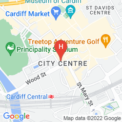 Mapa THE ROYAL HOTEL CARDIFF