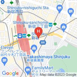 Map CAPSULE HOTEL ANSHIN OYADO PREMIER TOKYO SHINJUKU STATION